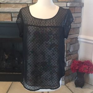 Tops - Lace Overlay Blouse